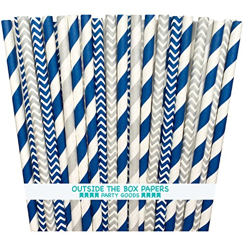 Outside the Box Papers Navy Blue and Silver Chevron and Striped Paper Straws 7.75 Inches 100 Pack Navy Blue, Silver