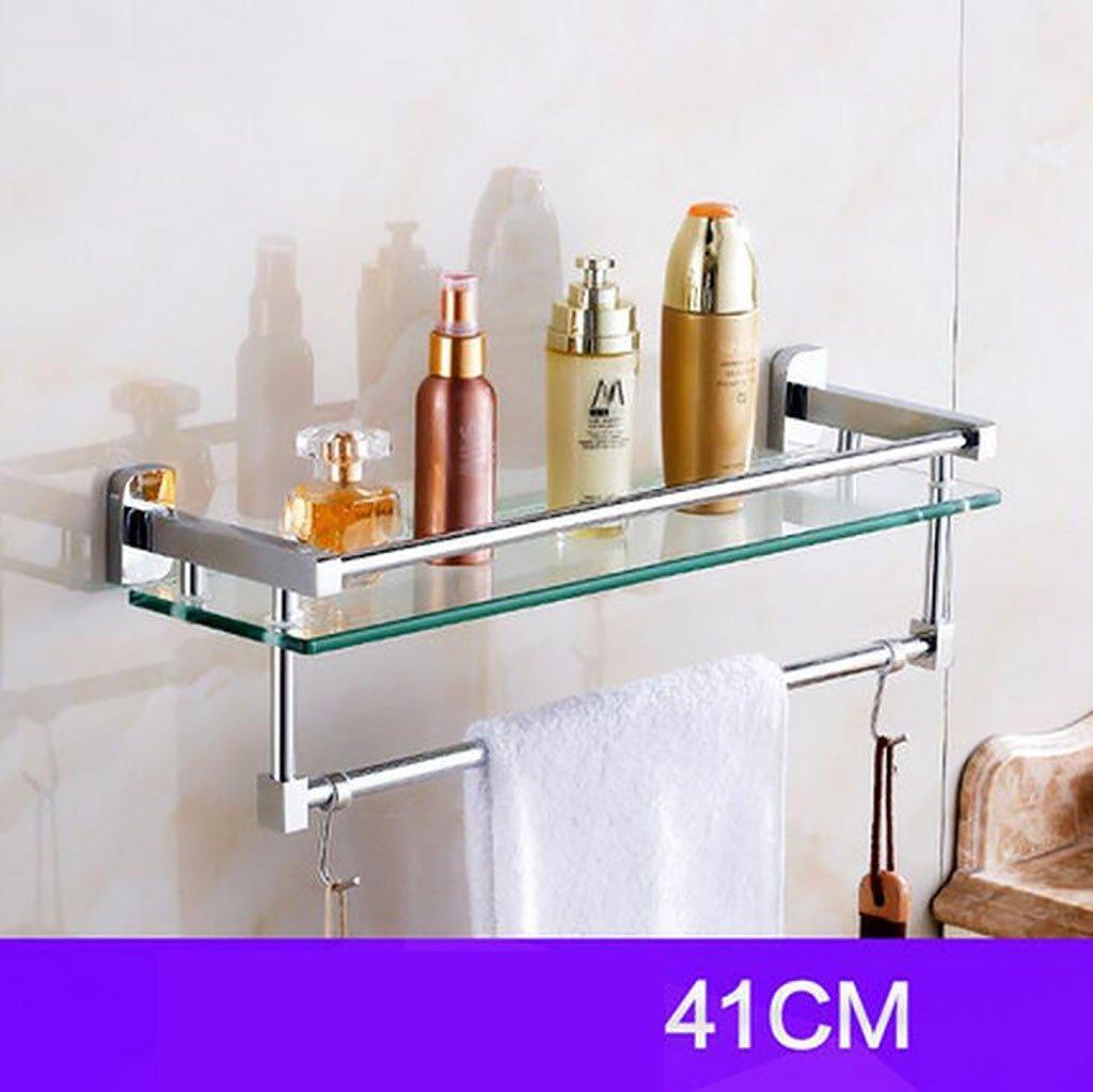 YAOHAOHAO Bathroom shelving bath rooms, glass on a shelf, shelf, TOILET BATH ROOMS Bath Rooms rack with double glazing, bath rooms towel rail (Size: 41 cm).