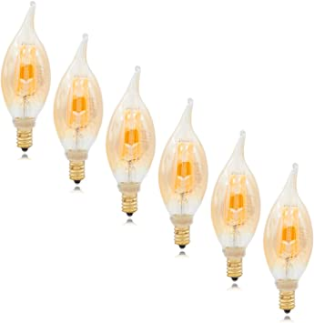 2200K Amber Warm White 400 Lumens Maxxima LED Candelabra Filament Flame Tip Bulb 40 Watt Equivalent Dimmable 6 Pack