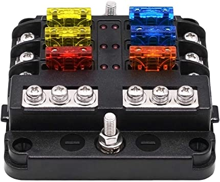 Amazon Com Helen Box Universal Car Blade Fuse Box Automotive Circuit Fuse Block Holder Dc 32v 1 6 Way With Led Indicators Home Improvement