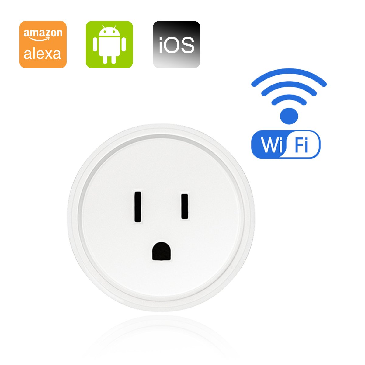 Mini Smart Plug Wireless Socket Wifi Outlet Timer Compatible with Alexa Google Home, Voice Remote Control Your Home Devices Anywhere, No Hub Required - 1 Pack