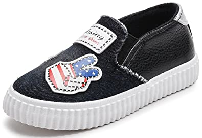 73f9ec5291 VECJUNIA Boy's Girl's Cartoon Anti Skid Comfortable Round Toe Elastic Strap  Flats Slip-on Fabric