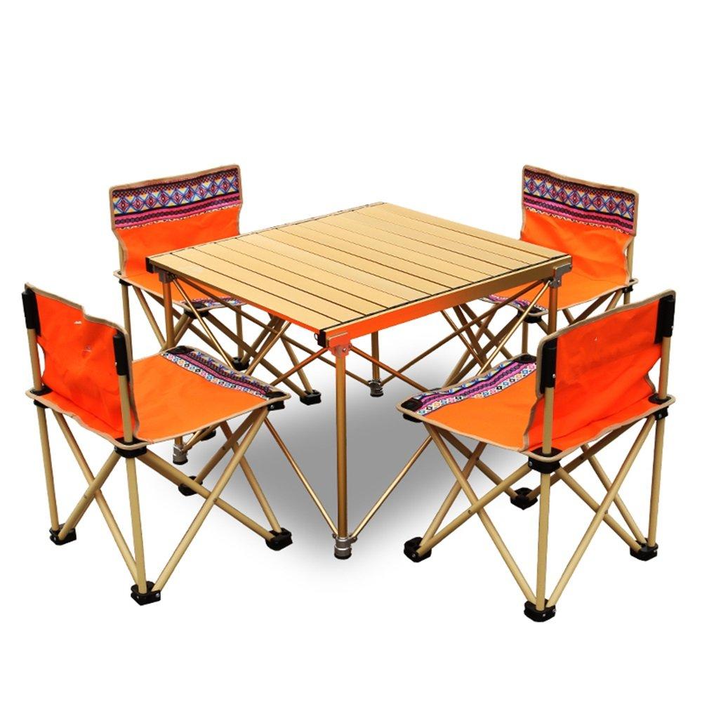 【年中無休】 XIAOMEI 屋外折りたたみテーブルアルミバーベキューキャンプ駆動テーブルと椅子の組み合わせ - 72* 64 chairs* 80センチメートル 72 64 (色 : Gold+orange 4 chairs) Gold+orange 4 chairs B07FMJXSD3, 白衣専門店 丸山吉井屋:271c14dc --- diesel-motor.pl