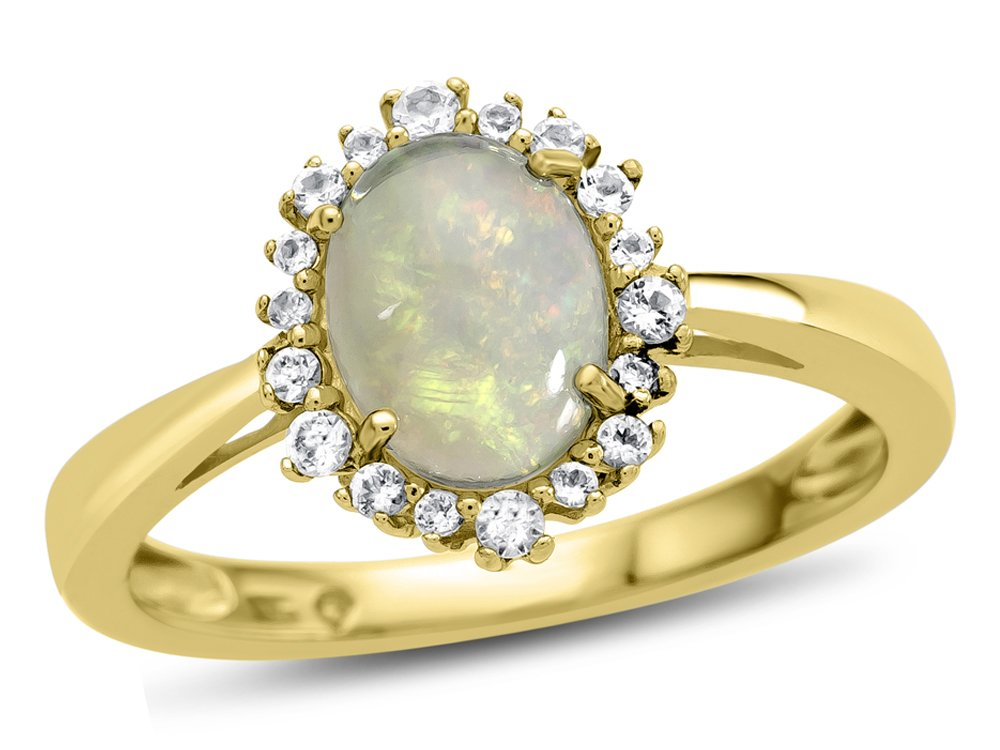 Finejewelers 10k Yellow Gold 8x6mm Oval Opal with White Topaz accent stones Halo Ring Size 5.5 by Finejewelers (Image #6)