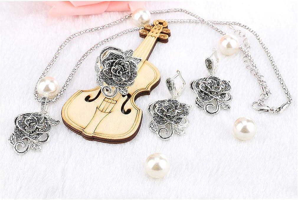 Yazilind Ensemble De Bijoux Simple Rose Fleur Pendentif Collier Boucles doreilles Bague Bague 3 Pi/èces Ensembles /Él/égant Bijoux De Mari/ée