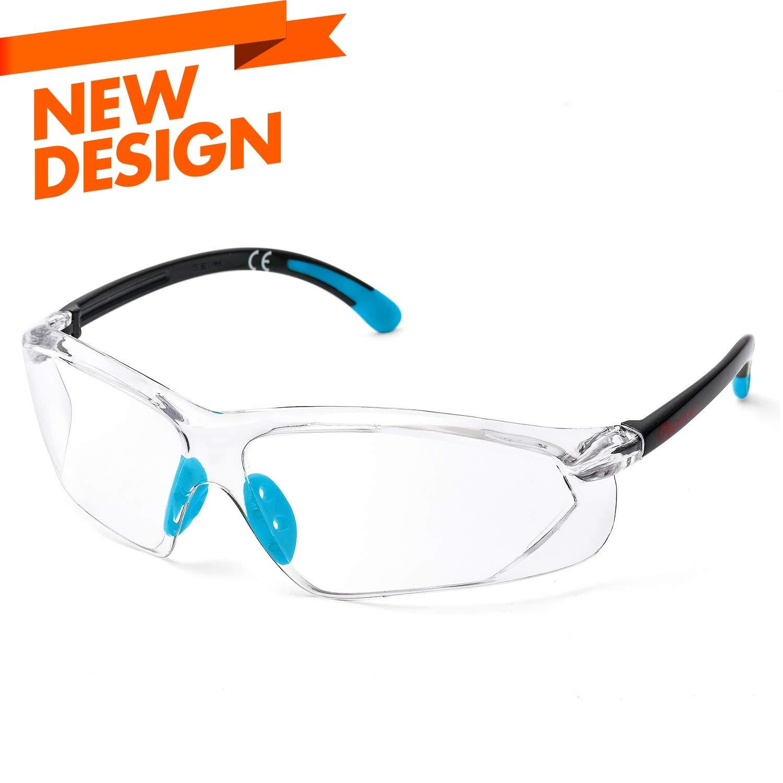 SAFEYEAR Gafas Protectoras Hombres Antiniebla - Gafas de Seguridad con Lentes Antiarañazos SG003 Color Negro y Verde (Azul)