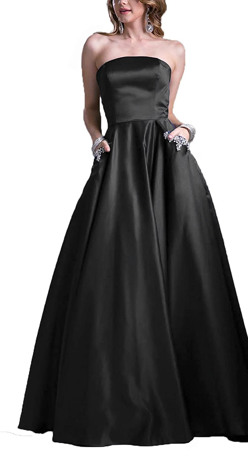 843471a2c3 AngelaLove Homecoming Dresses Short Strapless Satin Party Prom Dress with  Beaded Pocket Bridesmaid Evening Dress at Amazon Women s Clothing store