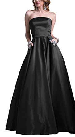 AngelaLove Homecoming Dresses Short Strapless Satin Party Prom Dress with Beaded Pocket Bridesmaid Evening Dress