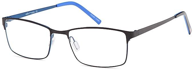 451958b1ba6f DALIX Mens Rectangular Light Weight Prescription Frames 56-18-140 (Black  Blue)