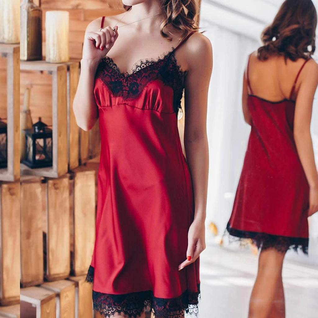 TOYFUNNY Women Fashion Nightdress Lace Panel Polyester Nightdress Embroidered Lace BS603