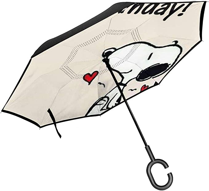 Windproof And Rainproof Double Folding Inverted Umbrella With C-Shaped Handle UV Protection Inverted Folding Umbrellas Mickey Mouse Car Reverse Umbrella
