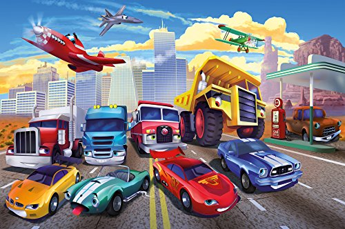 Childrens Wallpaper - GREAT ART Photo Kids Wallpaper Comic Cars Decoration 132.3x93.7in / 336x238cm - Wallpaper 8 Pieces Includes Paste.