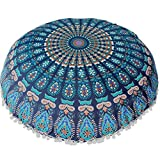 Feishe Large Mandala Pillow Case, Bohemian Meditation Pillow Covers Cushion Round Pillow Sham for Home, Office, Wedding, Party and Coffee Shop Decor (Blue, 80cm x 80cm/31.5'' x 31.5'')