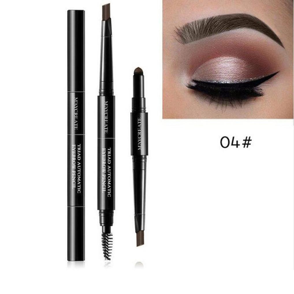Eyebrow Makeup Kit, Staron 3 In 1 Waterproof Multifunctional Automatic Eyebrow Pencil + Powder + Eyebrow Brush Pigment Beauty Makeup Kit (C)
