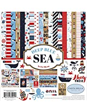Carta Bella Paper Company Deep Sea Collection Kit paper, red, navy, blue, white