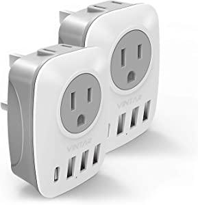 [2-Pack] UK Ireland Travel Plug Adapter, VINTAR International Power Adaptor with 1USB C Compatible with iPhone 12/12 Pro / 12Pro Max, 2American Outlets and 3USB Ports, 6 in 1 Type G Plug Adapter