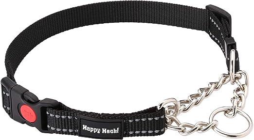HAPPY HACHI Collar Perro Cuello Perro Martingale Collares Adiestramiento Perros Grande Medanio Pequeño Ajustable Reflexivo(M Negro): Amazon.es: Productos para mascotas