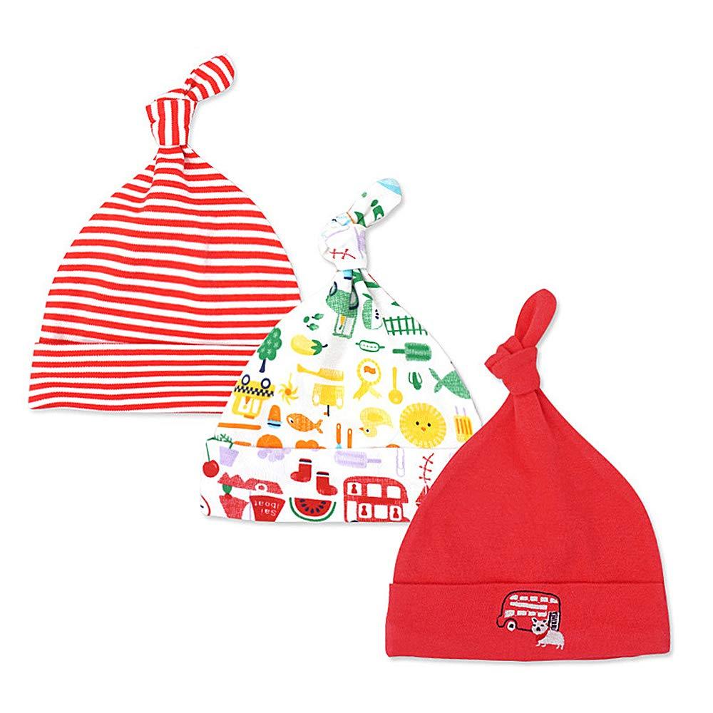 LACOFIA Sombrero de Beanie de algod/ón para beb/é ni/ñas y ni/ños de reci/én Nacido Unisex Gorro Nudo de Las beb/é de Esencial 3 Piezas