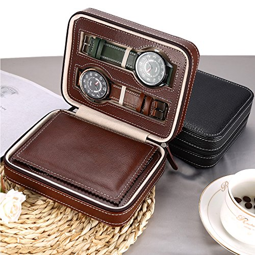 EleLight 4 Grids Watch Storage Display Box, Portable Travel Leather Watch Collector Storage Case for Men & Women as A Gift (Brown) by EleLight (Image #4)