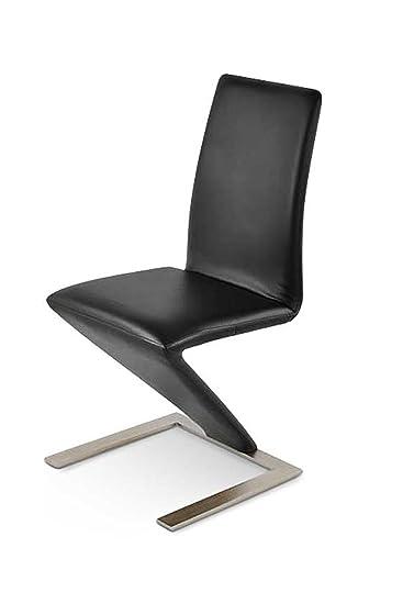 SAM Freischwinger Basel In Schwarz Moderner Design Esszimmer Stuhl Mit  Edelstahl Farbigen Standfuß