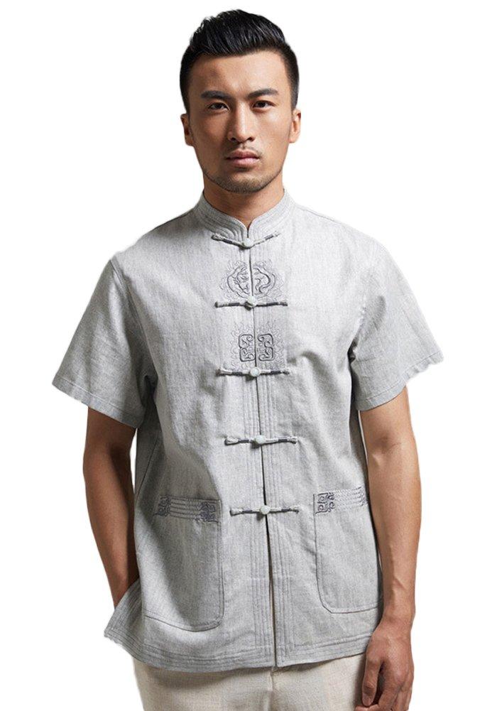 Insun Herren Leinen Hemd Handgefertigte Stickerei Tai Chi Hemd mit chinesischen  Frosch Knoten Tasten: Amazon.de: Bekleidung