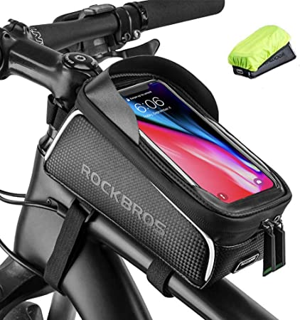 UK RockBros Bike Frame Bag Cycling Top Tube Bag Waterproof Large Capacity Black