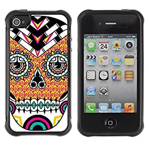 Hybrid Anti-Shock Defend Case for Apple iPhone 4 4S / Cool Neon Sugar Skull Tattoo