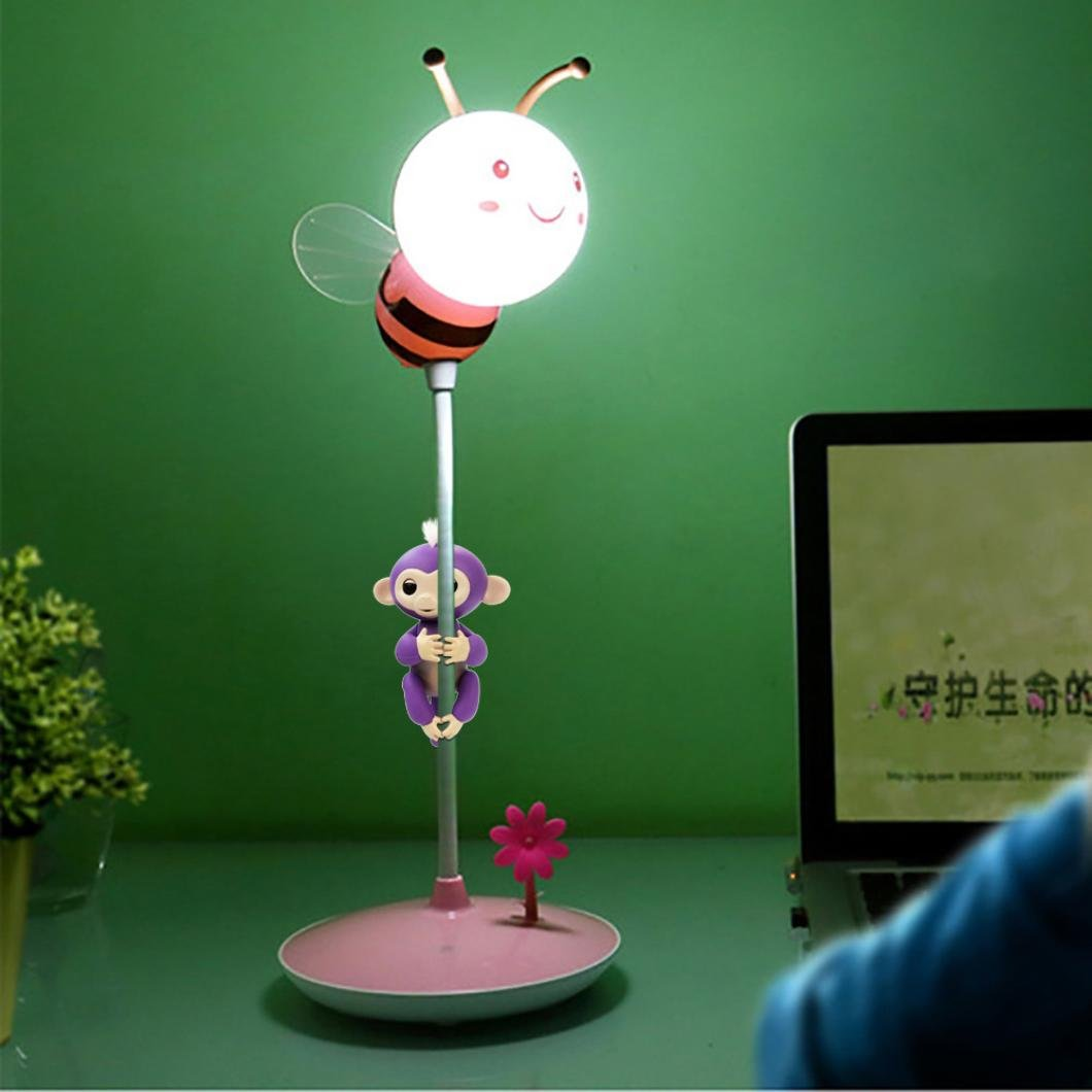 Sunward LED Desk Lamp,Touch-Sensitive Control Panel,3 Adjustable Brightness Levels(Without Monkey) (Pink)