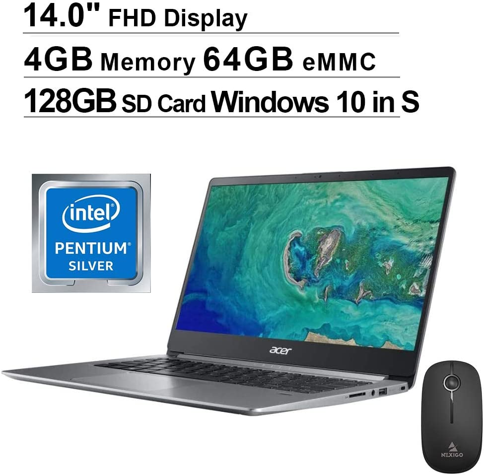 Acer Swift 1 14 Inch FHD 1080P Laptop| Intel Pentium N5000 up to 2.7 GHz| 4GB RAM| 64GB eMMC| HDMI| Webcam| Windows 10 Home S + NexiGo Wireless Mouse + 128GB SD Card Bundle (Renewed)