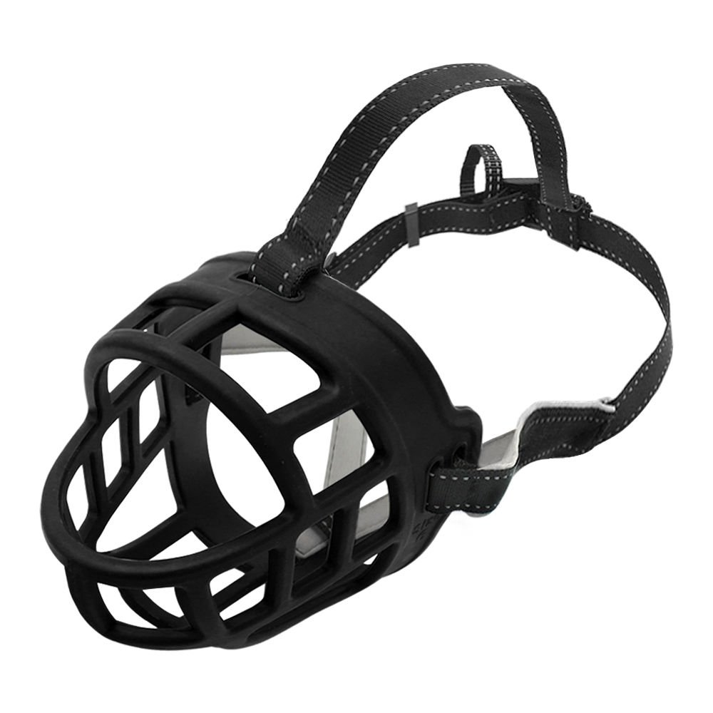 Dog Muzzle, Soft Silicon Basket Dog Muzzles, Adjustable & Breathable Rubber Ultra Muzzle For Full Protection, Allow Drinking, Eating and Panting (Black, 6 Sizes), LOST PET