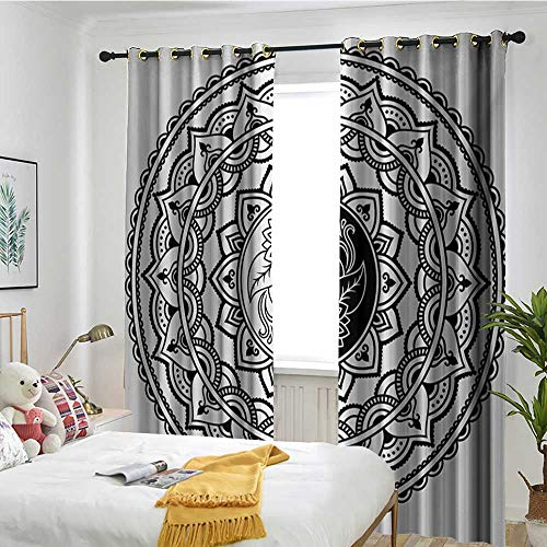 (TRTK Bedroom Curtains Curtain 2 Panel Combination Set Ying Yang,Ornate Symbol with Lace Style Blossom Patterns Inspirational Far Eastern Print,Black White)
