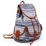 YISUMEI Canvas Waterproof Schoolbag Bookbags Backpack Travel Bag Aztec Tribal Pattern Blue