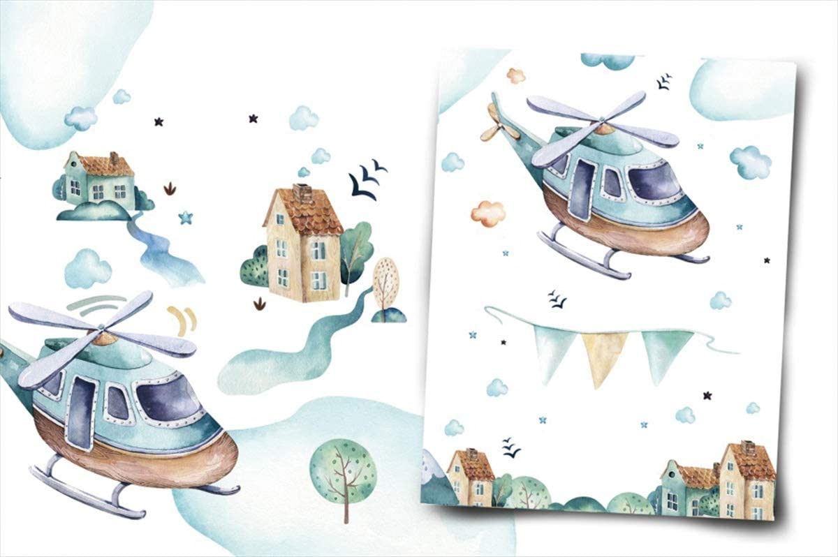 Yeele Helicopter Backdrop Watercolor Painting Birthday Party Photography Background 10x6.5ft Birthday Baby Shower Banner Baby Kids Portrait Preschool Events Photo Booth Dessert Table Wallpaper