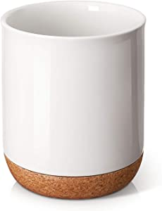 DOWAN Kitchen Utensil Holder, 7.2″ Large Utensil Crock, Table-Protection Cork Mat, Heavy and Stable Ceramic, No Wobbling, Easy to Clean, White for DIY, 3.1 qt