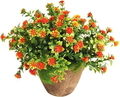 Winomo Kunstliche Pflanzen Simulierte Pflanze Dekorative Bonsai Plastik Blume Fur Zuhause Dekoration Orange Amazon De Kuche Haushalt