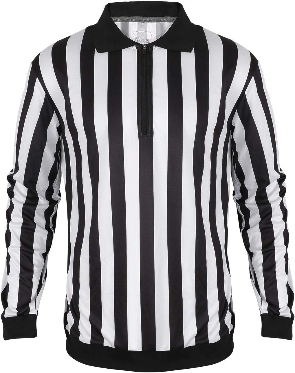 XL Men/'s Official Striped Referee Shirt//Umpire Long Sleeve Jersey Uniform