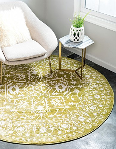 Unique Loom Newtique Collection Traditional Distressed Vintage Classic Light Green Round Rug (6' x - Green Light Classic