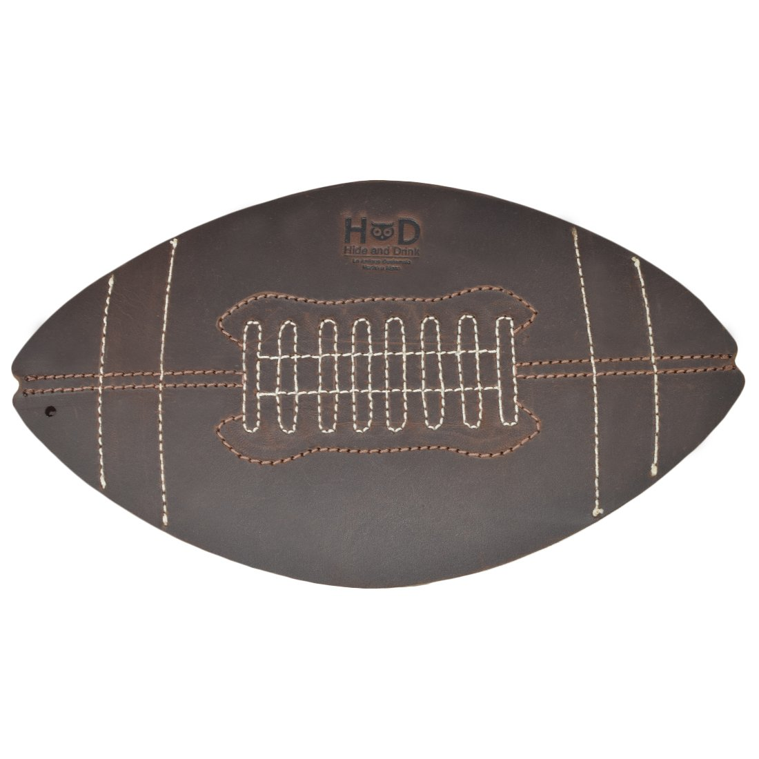 Thick Leather Football Game Day Drinks Mat/Hot Pad/Beer Mat Decor Handmade by Hide & Drink :: Bourbon Brown by Hide & Drink
