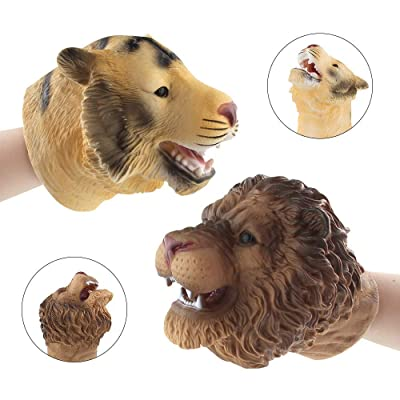 ZY Tiger & Lion Head Puppet Vivid and Realistic Soft Animal Puppets Child Stories Role Play Interesting Toy Glove for Boys Toys: Home & Kitchen