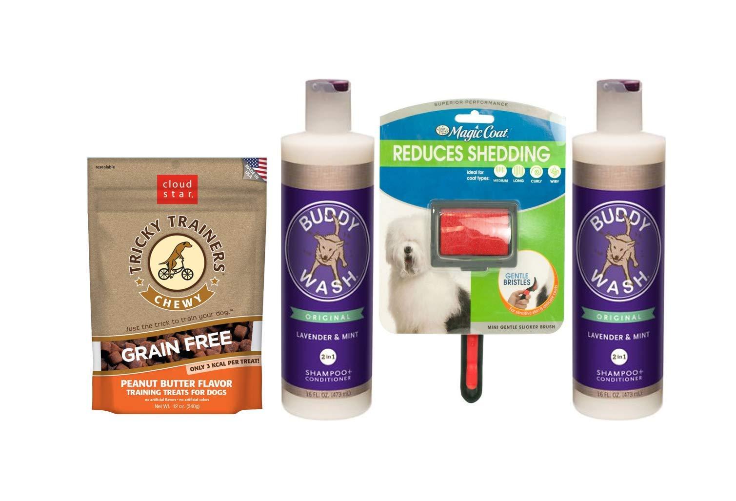 Cloud Star Buddy Wash Dog-Shampoo & Conditioner Lavender Mint 2 Bottles 1 Dog Brush 1 Bag Dog Treat