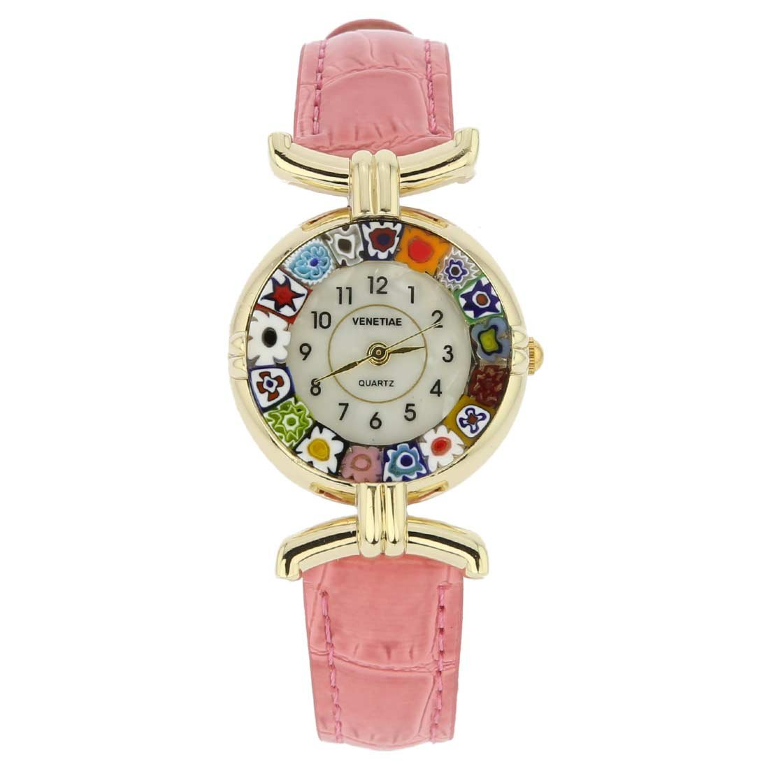 GlassOfVenice Murano Glass Millefiori Watch with Leather Band - Pink by GlassOfVenice