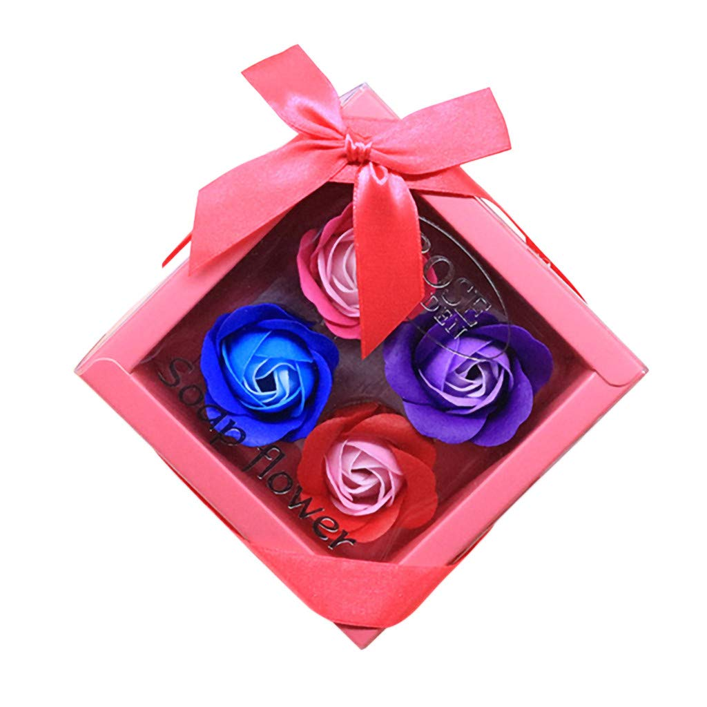 Lovewe 4pc Fower Petal Soap - Scented Bath Body Petal Rose Flower Soap For Valentine's Day Gift (A)