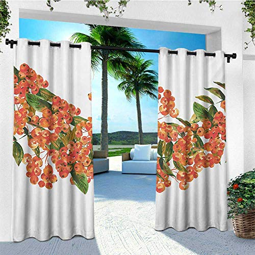leinuoyi Rowan, Outdoor Curtain Panels Set of 2, Hand Painted Border Full of Rowan Berries Vintage Style Watercolor Flora, Fabric W96 x L96 Inch Coral Dark Green White