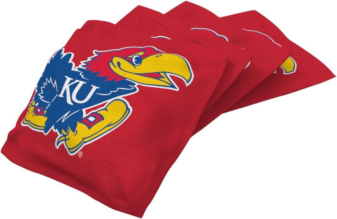 Wild Sports NCAA College Kansas Jayhawks Red Authentic Cornhole Bean Bag Set (4 Pack) : Sports & Outdoors