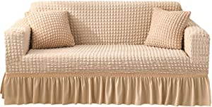 MXCELL Sofa Cover with Skirt, Stretchy Sofa Slipcover Ruffle Elegant Seersucker Furniture Protector (Large, Beige)