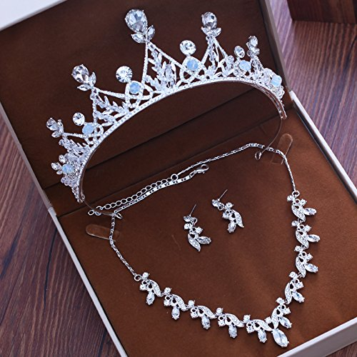 Olici Bridal Wedding/Prom Hair Pins/Headdress Accessories/Party/Girls Bridal Crown Silver Necklace Earrings Es An Crown ()