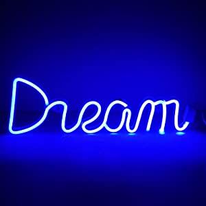 Neon Sign Night Light, LoveNite USB & Battery Operated Glowing Neon Decorative LED Light Wall Decor for Room Party Bar Decorations (Dream)