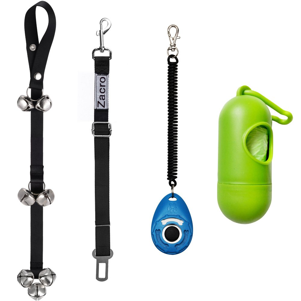 Zacro Dog Doorbells for Dog Training with One Dog Seat Belts, Housebreaking Your Doggy , One Training Clicker and One Dog Waste Bag Dispenser Included, Adjustable Door Bell Length, 7 Count