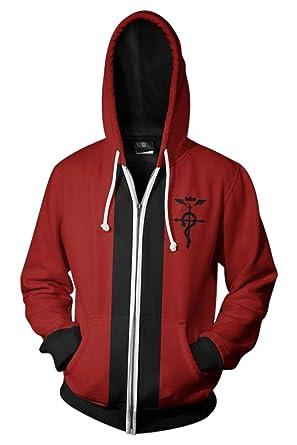 9a6c7ed8ee6c6 NoveltyBoy Fullmetal Alchemist Edward Elric Hoodies Sweatshirt Cosplay  Costume Top Suit Jacket (Small) Red