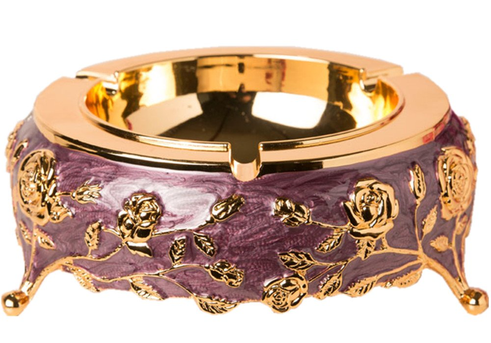 TOBEST Zinc alloy ashtray,High-grade metal creative car luxury European fashion trend in home sitting room ashtray hotel bars ash to offer them (Gold-purple)